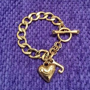 Juicy Couture Gold Heart Toggle Charm Bracelet